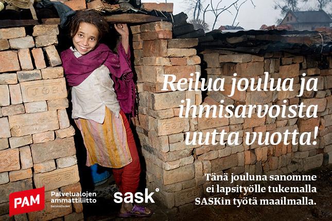 PAM lahjoitti joulukorttirahat SASKille: Tänä vuonna sanomme ei lapsityölle!
