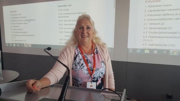 PAMin valtuusto kokoontuu Helsingissä 16.-17.5.2018. Kuvassa valtuuston puheenjohtaja Sirpa Laakso.