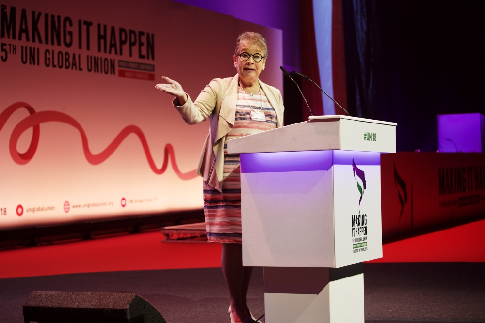Trade unions are, according to President Ann Selin, the force that can and will make the change for the future. To get to a socially sustainable world engagement is required. Photo: UNI Global
