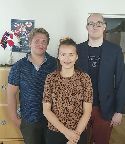 Pohjola-Norden ja Pohjola-Nordenin Nuorisoliitto edistävät yhdessä Nordjobbia. Kuvassa Lasse Paukkonen, Emil Kusnetsoff ja Christa Elmgren. He tarjoavat täydellisen palvelupaketin Pohjoismaista kesätöitä etsiville nuorille.