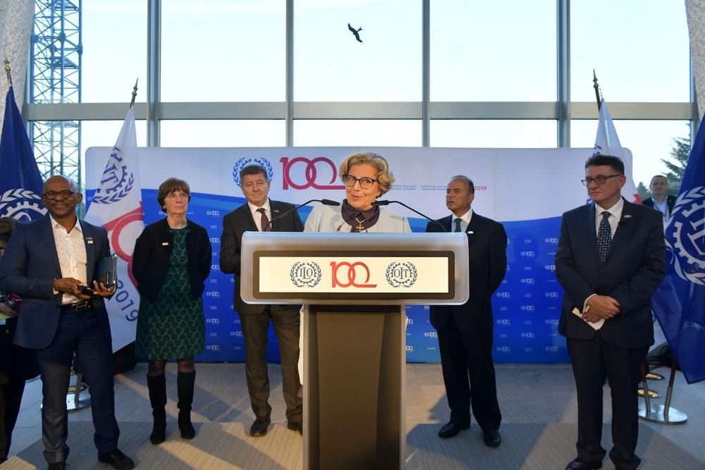 ILO:n satavuotisjuhlavuoden avajaisia vietettiin 22. tammikuuta Genevessä. Kuva: Crozet M./ILO