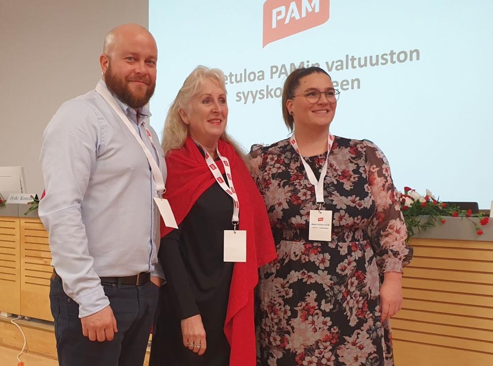 PAMin valtuuston puheenjohtajisto: 1. varapuheenjohtaja Sami Viitasaari, puheenjohtaja SIrpa Laakso ja 2. varapuheenjohtaja Mira-Veera Auer.