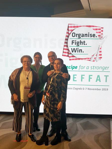 Kongressissa myös PAMin aktiivit pääsevät ääneen. Kuvassa Merja Lehto, Anne Bergström, Timo Tiikkaja ja Jutta Vihonen.