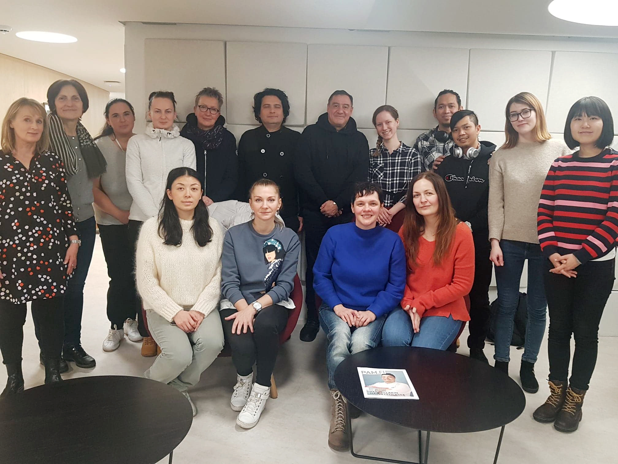 Students attending the course during the fall received their diplomas from teacher Outi Rummukainen (left) in December.