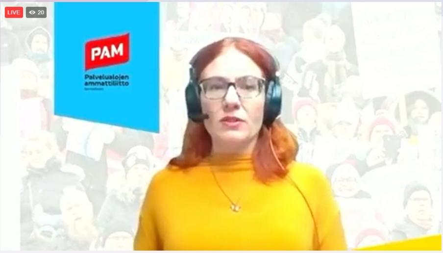 PAMin puheenjohtaja Annika Rönni-Sällinen painotti puheenvuorossaan yritysten yhteiskuntavastuuta.