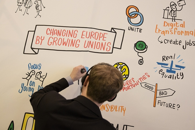 Palvelualojen ammattiliittojen kattojärjestön UNI Europan mukaan verkon keikkatalous on liitettävä osaksi muuta taloutta ja sen sääntöjä. Kuva: UNI Europa