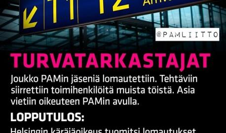 ▶️ Joukko PAMin jäseniä lomautettiin, ja heidän tehtäviinsä siirrettiin toimihenkilöitä muista töistä. Asia vietiin oikeuteen PAMin avulla. ▶️ Helsingin käräjäoikeus tuomitsi lomautukset perusteettomiksi. Työnantaja joutuu maksamaan yhteensä yli 30 000 euron korvaukset sekä PAMin jäsenten oikeudenkäyntikulut. Tuomio ei ole lainvoimainen. 💪 PAM hoitaa vuosittain noin 1000 erimielisyysasiaa ja neuvoo noin 50 000 kertaa työsuhteeseen liittyvissä asioissa. Tässä yksi tapaus, jossa jäsenet tarvitsivat apua. Ja hyvin kävi! Tätä palvelua ja työsuhdeasiantuntemusta et saa mistään muualta. . . . . #vainpamjutut #turvatarkastus #airport #turvatarkastaja #lomautus #voittotuli #kaikkieikäy #liitypamiin