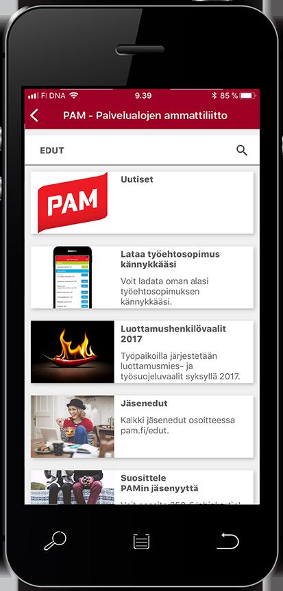 PAM lähettää tekstiviestin jäsenkortin lataamisesta matkapuhelimeen