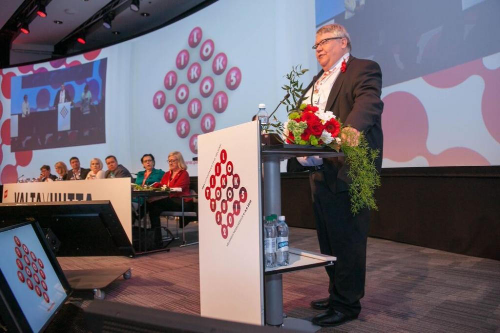 Pitäkää PAM suurimpana ammattiliittona, kehotti väistyvä 2. varapuheenjohtaja Kaarlo Julkunen. (Kuva: Tero Leponiemi)